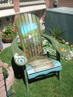 painted chairs for charity the painted muskoka chairs are done for annual charity events. Black Bedroom Furniture Sets. Home Design Ideas