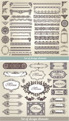 """2 Sets of vector vintage decorative frames and borders with classic ornaments for your designs and embellishment of different cards, brochures and labels. Format: EPS stock vector clip art and illustrations. Free for download. Set name: """"Vintage decorative frames and…"""