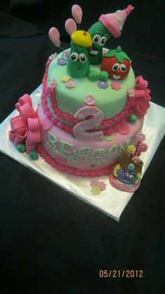 Veggie Tales birthday Party cake made by Karen Shoopman with Sweet Tooth Mother and Daughter Cakes in Oneida, Tn.
