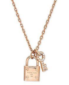 Michael Kors Rose-Gold-Tone Padlock and Key Charm Necklace - handbag, demoda, vera bradley, popular, for school, kate spade purses *ad