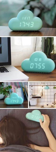 Cloud LED Alarm Clock ❤︎ Voice Activated With Calendar Backlight Snooze + USB #coolgadgets