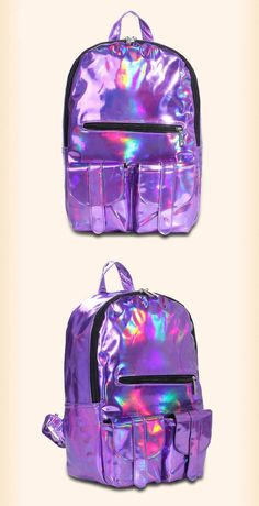 We love holgraphic anything and these stylish backpacks are totally on our Holographic Bag, Holographic Fashion, Stylish Backpacks, Cute Backpacks, Backpack Bags, Leather Backpack, My Bags, Purses And Bags, Mini Mochila