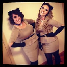 Siamese Cats Costume--tan dress with black socks on hands and feet and black ears