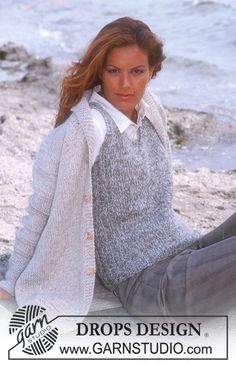 Ravelry: b Cardigan pattern by DROPS design Easy Sweater Knitting Patterns, Knit Vest Pattern, Knit Patterns, Free Knitting, Drops Design, Tweed, Slip Over, Pulls, Knit Crochet