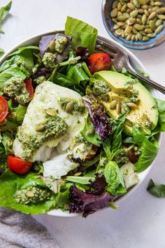 Cod salad with basil-walnut pesto is so easy to make and a quick and delicious dinner that can be that is low-carb, low-FODMAP, paleo, keto, and Best Salad Recipes, Fish Recipes, Healthy Recipes, Recipies, Healthy Salads, Salmon Recipes, Amazing Recipes, Meat Recipes, Healthy Eats
