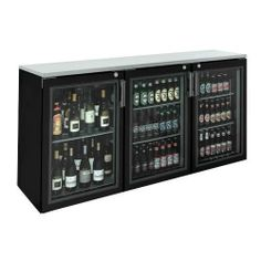 "Krowne Metal BR72L-GNB-LLR 72"" Glass Door Remote Back Bar Cooler by Krowne Metal. $2484.99. Back bar refrigeration is important to any bar-type establishment that serves bottled and canned drinks, even those that don't have a lot of space. The 72"" Solid Door Remote Back Bar Cooler (BR72L-GNB-LLR) by Krowne offers essential drink storage for bars and restaurants all the while saving space with remote condensing. This unit has two black, vinyl-coated, framed glass..."