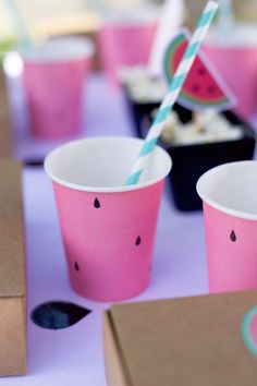 """Get juicy summer party details inside this """"One in a Melon"""" Watermelon Birthday Party at Kara's Party Ideas. Check out this party now! 18th Party Themes, 1st Birthday Party Themes, First Birthday Decorations, Birthday Ideas, Watermelon Birthday Parties, Baby Shower Watermelon, Fruit Birthday, Pink First Birthday, Summer Party Decorations"""