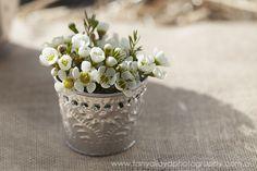 Hessian Table Runner & Bush Flower Posy.  Cape Of Love Vintage Hire  Dunsborough  WA  www.capeoflove.com