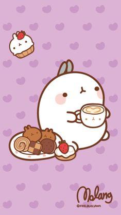 Molang Bunny with Kawaii Food Kawaii Anime, Chibi Kawaii, Arte Do Kawaii, Kawaii Art, Wallpapers Kawaii, Kawaii Wallpaper, Cute Cartoon Wallpapers, Iphone Wallpaper, Kawaii Illustration
