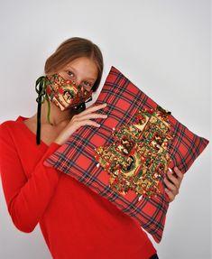 Plaid Christmas, Vintage Christmas, Christmas Print, Green Cushions, Look What I Made, Vintage Cushions, Printed Cushions, Cotton Pillow, Xmas Tree