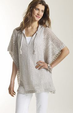 sweaters  hooded open-stitch poncho at J.Jill