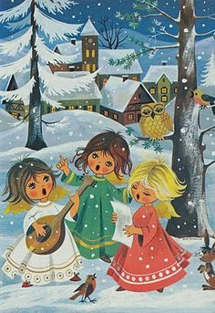 ~Zingende engelen-prent uit een Duits Kinderboek uit 1980~