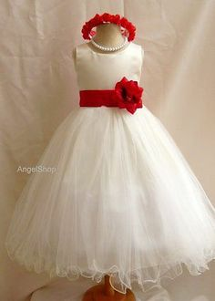 New Ivory Pageant Communion Flower Girl Dress Tulle Bridesmaid Wedding Dress