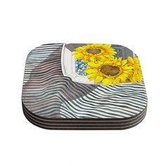 "S. Seema Z ""Finall Sunflower"" Yellow Flower Coasters (Set of 4)"