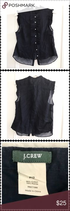 J. Crew cotton/ramie sleeveless blouse J. Crew cotton/ramie sleeveless blouse in navy. Ruffles in front and around the arm opening.  Worn once a twice only. Almost new condition. J. Crew Tops Blouses