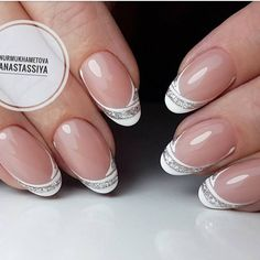 french nails with rhinestones Ideas Glitter French Manicure, French Tip Nails, Nail Manicure, Toe Nails, French Toes, Fancy Nails, Trendy Nails, Bridal Nails, Wedding Nails