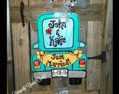 Old Truck Just Married Wedding Wood Door by UniquelyYoursTruly(Diy Ornaments Hanger) Old Wooden Doors, Wooden Diy, Wood Doors, Wedding Door Hangers, Wedding Doors, Wedding Signs, Canvas Door Hanger, Burlap Door Hangers, Painted Doors