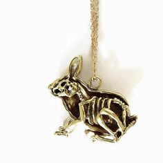 Dissected Rabbit Skeleton Brass Pendant