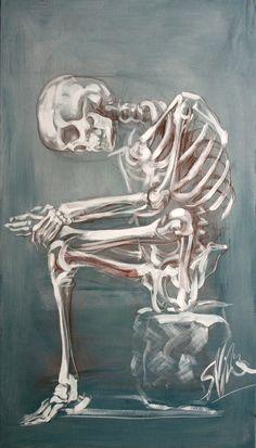 "Saatchi Art is pleased to offer the painting, ""Skeleton sketch,"" by Simon Vine. Original Painting: Acrylic on Canvas. Skeleton Drawings, Skeleton Art, Ap Studio Art, Painting & Drawing, Vine Drawing, Anatomy Art, Cool Artwork, Art Sketches, Saatchi Art"