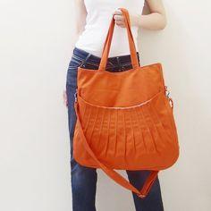 Christmas Sale  Orange Canvas WomenShoulder bag by Kinies on Etsy, $53.00