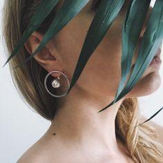 Minimalistic sterling silver earrings. Geometric design ear jackets.
