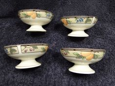 ON SALE Mikasa Garden Harvest Sherbet Dessert Bowls Crudite Footed intaglio FOUR MINT! #Mikasa