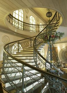 Spiral staircase in Moscow, Russia.