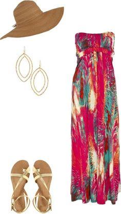 #Beach Wear #Maxi Dress #Beach Hat