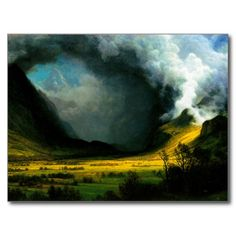 One of my favorite landscpe artists I just learned about-Albert Bierstadt Storm in The Mountains Postcard