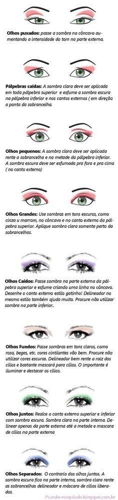 Oii amiga. :D Cada pessoa tem um tipo de olho diferente e cada tipo de olho precisa de uma forma de maquiar diferente pra de...