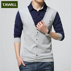 TAWILL t-shirt men clothing brand new fashion 2016 t shirt long sleeve cotton slim casual shirts clothes plus Asian size M-5XL