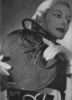 Vintage Crochet Handbag Purse Drawstring Pouch by Dazespast