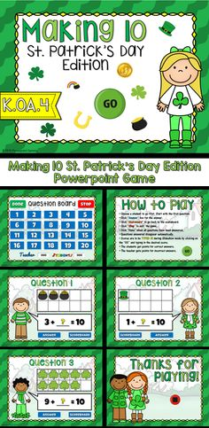 counting shamrocks - teacher vs student powerpoint game | leaf, Powerpoint templates