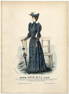 L'Art et la Mode 1891 N°20 Marie de Solar, colored fashion lithograph