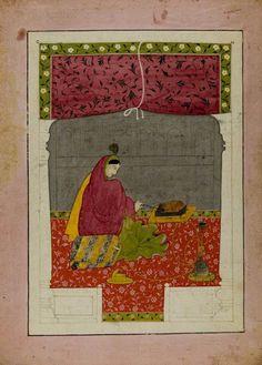 Dame am Feuer (Winter). Folio aus einer Baramasa-Serie, Pigmentmalerei auf Papier, Indien, Pahari-Gebiet, Guler oder Kangra, 1770-1790