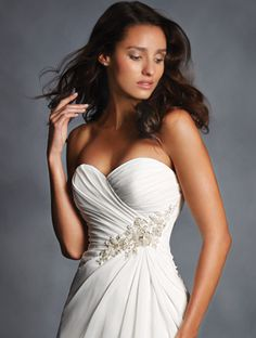 36f3db7b14c70 Alfred Angelo Floral Waist Detail Designer Wedding Gown 2514 now available  in petite and plus sizes at The Bridal Boutique of Naperville.