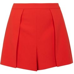 Alice + Olivia Larissa Red Shorts - Size 12 ($280) ❤ liked on Polyvore featuring shorts, bottoms, alice olivia shorts, red shorts and zipper shorts