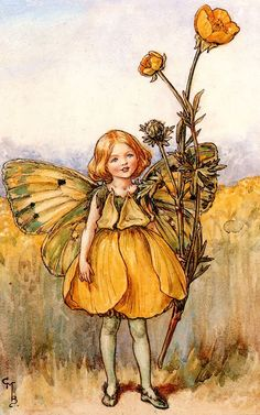 Illustration for the Buttercup Fairy from Flower Fairies of the Summer. A girl dressed as a fairy in a yellow outfit stands, a buttercup plant in her left hand. Author / Illustrator Cicely Mary Barker More Cicely Mary Barker, Flower Fairies, Fairy Pictures, Vintage Fairies, Beautiful Fairies, Fantasy Illustration, Fairy Art, Mellow Yellow, Faeries