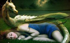 fantasy art artwork dragon girl is sleeping on field night wallpaper background Fantasy Girl, Chica Fantasy, Dragon Horns, Dragon Art, Cs Lewis, 1366x768 Hd, Dragons, Best Wallpaper Hd, Girl Wallpaper
