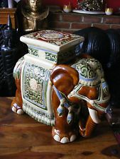 Asian Ceramic Figural Plant Stand Garden Seat Decorated