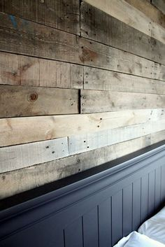 DIY Wood Walls • Tons of Ideas, Projects & Tutorials! Including this really cool diy pallet wall project from 'just a girl blog'.