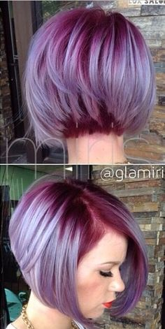 Purple Hair Color Ideas for Short Hair Purple Hair Color Ideas for Short Hair are in right now! Tell me, what can be better shade of purple hair colo. Funky Hair Colors, Hair Color Purple, Cool Hair Color, Short Purple Hair, Purple Bob, Hair Colours, Colour Melt Hair, Short Colorful Hair, Colored Short Hair