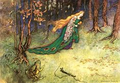 """The Golden Ball in the Frog and the Prince by Warwick Goble -  """"The king's daughter was overjoyed when she beheld her pretty plaything again, picked it up, and ran away with it"""""""