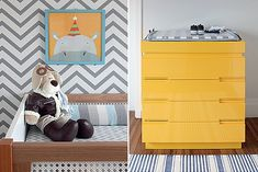 Berço | As laterais de palhinha dão ao móvel um ar retrô.  Cachorro de pelúcia, da Tok & Stok. Gravura, comprada pela internet (Foto: Ev...