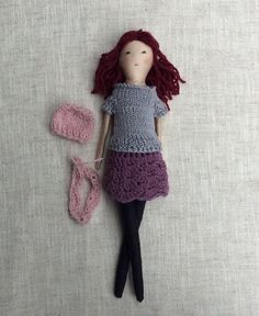 "Mommy and Daughter dolls, Doll with clothes, Handmade fabric doll, doll set,  medium size, soft doll, 13"" doll, rag doll"
