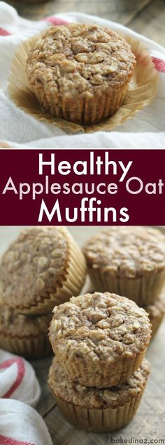 Healthy Applesauce Oat Muffins - moist and delicious. A perfect on the go breakfast or snack. They freeze well too!