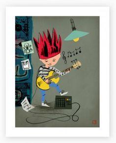 Spikey Guitar Art Print