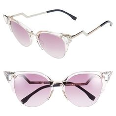 0991cc72d201 Fendi Crystal 52mm Tipped Cat Eye Sunglasses ( 495) ❤ liked on Polyvore  featuring accessories