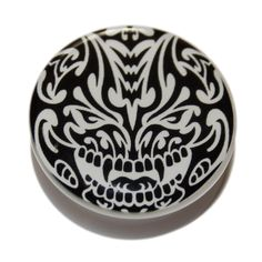 SALE: These plugs are only £1 each! get yours while stocks last... http://www.justeros.com/black-white-tribal-devil-white-pmma-acrylic-screw-fit-flesh-plug/ #plugs #tunnels #erosplugs #plugsale