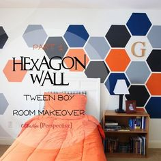 hexagon wall tween boy room focal wall, bedroom ideas, diy, painting. Maybe do in tone on tone colors instead so bright